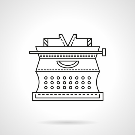 typewrite: Classic typewrite. Old fashioned  equipment and accessory for writer, journalists, copywriter symbols. Flat line vector icon.  Buttons and design elements for website, mobile app, business. Illustration