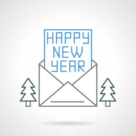 icon buttons: Envelope and card with typewriting blue text Happy New Year, decor with two Christmas trees. Flat color line style vector icon. Buttons and design elements for website, mobile app, business.