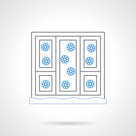 sill: White windows with winter views. Abstract snowfall with blue snowflakes. Flat color line style vector icon.   Buttons and design elements for website, mobile app, business.