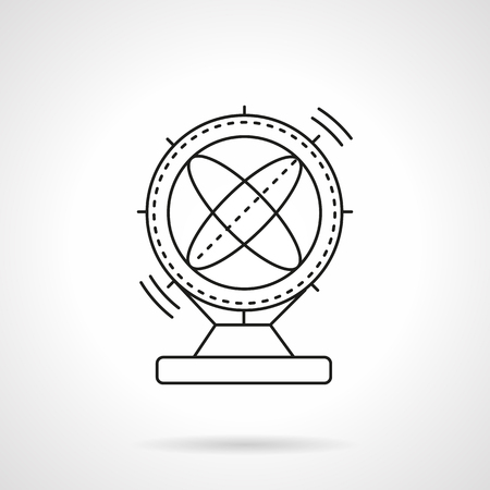 gravitational field: Orbital magnetic pendulum. Science souvenirs symbols. Flat line style vector icon. Single web design element for mobile app or website.