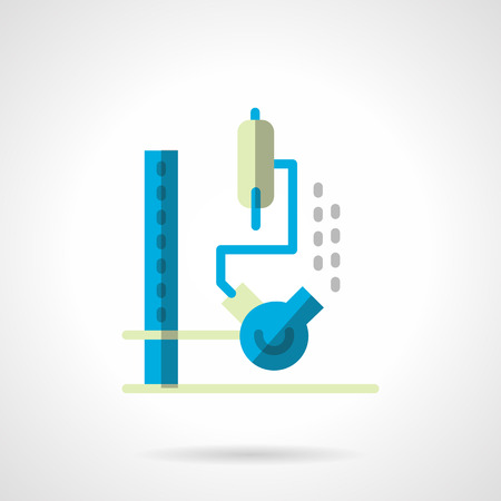 sediment: Flask with liquid on rack with hose for chemical tests. Blue flat style vector icon. Science and education. Single web design element for mobile app or website.