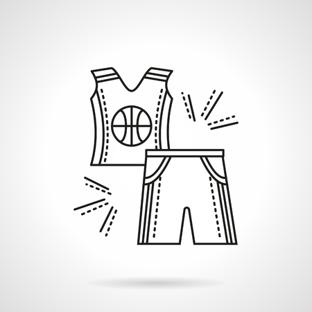 sleeveless: Sleeveless shirt and shorts for basketball with ball image. Sport wear. Flat line style vector icon. Single web design element for mobile app or website.