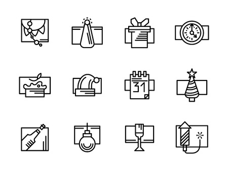 celebration party: Set of black simple line style vector icon for New Year and Christmas. Winter holidays. Party and celebration symbols. Design elements for website, mobile app. Illustration