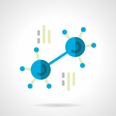 chemical bonds: Blue molecule with molecular bonds. Chemical symbols. Research and science. Flat color style vector icon. Single web design element for mobile app or website.