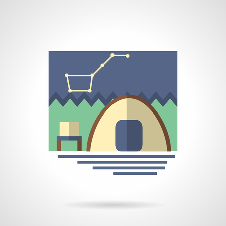 campsite: Summer outdoors active leisure. Campsite with tent and night sky with stars. Hiking, camping, fishing. Flat color style vector icon. Single web design element for mobile app or website.