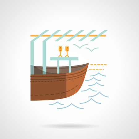floating market: River or canal with boat. Water trade. Flat color style vector icon. Single web design element for mobile app or website.