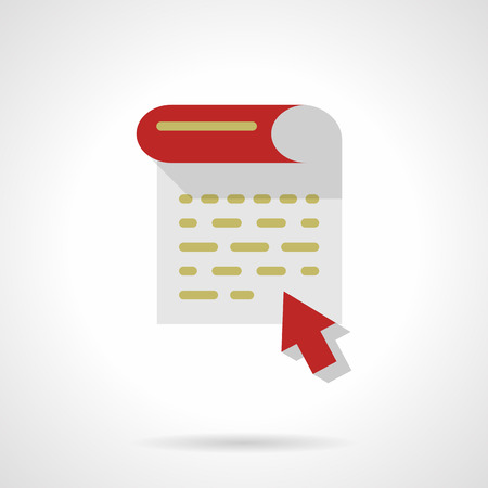articles: Document page and red arrow. Writing articles, blogging, news making and copywriting. Flat color style vector icon. Single web design element for mobile app or website.
