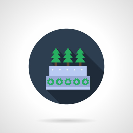 firtrees: Christmas pie decorated with sugar fir-trees and snowflakes. Festive seasonal baking and pastry. Blue round flat color vector icon with long shadow. Single web design element for mobile app, website.
