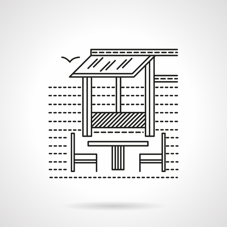 outdoor cafe: Restaurant on the tropical beach. Outdoor cafe, bar or restaurant with table and chairs. Flat line style vector icon. Single web design element for mobile app or website.