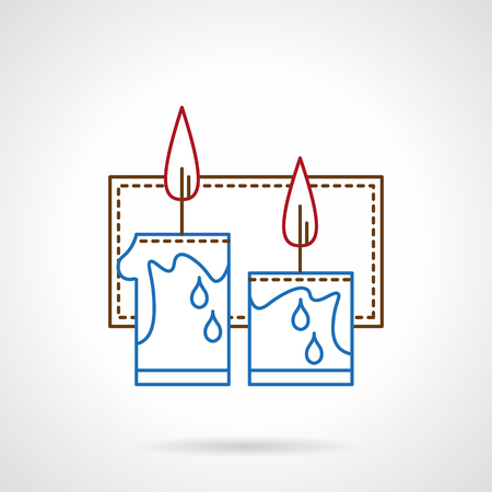 blue flame: Two blue festive candles with red flame and frame on background. Winter celebrations symbols. Flat color thin line style vector icon. Elements of web design for business, website and mobile Illustration