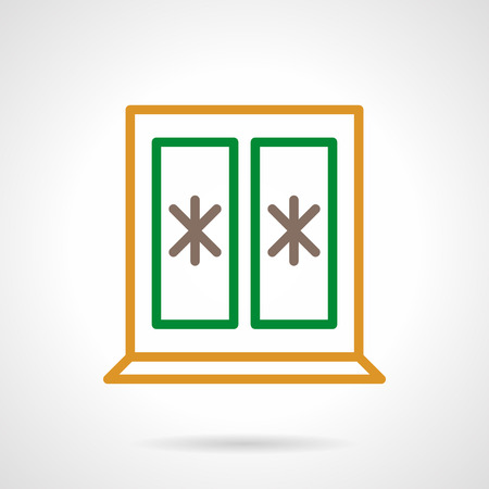 wintertime: Window with green and yellow frame, glass decorated with abstract snowflakes. Wintertime. Christmas holidays. Color simple line vector icon. Elements of web design for business, website and mobile