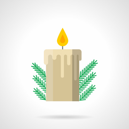 traditional celebrations: Wax beige candle with flame and green fir branch. Christmas decoration. Winter traditional celebrations. Flat color style vector icon. Elements of web design for business, website and mobile