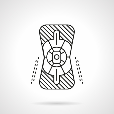 elbow pad: Knee pad for extreme sport. Skateboarding, longboarding, rolling accessories. Sportsman protection. Flat line style vector icon. Elements of web design for business, website and mobile