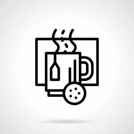 hot drinks: Mug with hot tea and lemon slice. Hot drinks in wintertime. Black simple line style vector icon. Elements of web design for business, website and mobile
