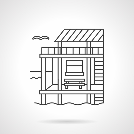 architecture bungalow: Seascape with bungalow on coast. Tropical resort, exotic architecture. Flat line style vector icon. Elements of web design for business, website and mobile