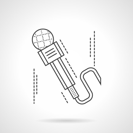 amplification: Microphone with cord. Equipment for sound recording, journalism, broadcasting, concerts. Flat line style vector icon. Elements of web design for business, website and mobile