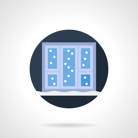 wintertime: Snow outside a window and on a sill. Wintertime weather. Happy Christmas holidays. Blue round flat color vector icon. Single web design element for mobile app or website. Illustration