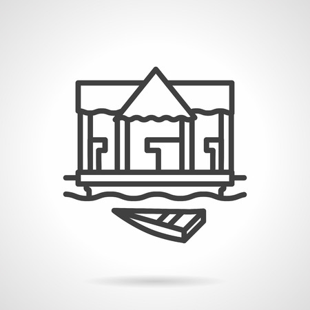 jetty: Jetty with boat. Village riverside, river market and trade. Black simple line style vector icon. Single web design element for mobile app or website.