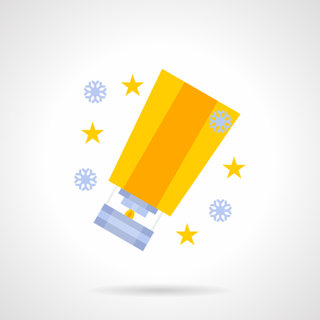 sky lantern: New Year event, party decoration. Anniversary celebration with wishes. Bright yellow sky lantern, stars and snowflakes. Flat color vector icon. Single web design element for mobile app or website.