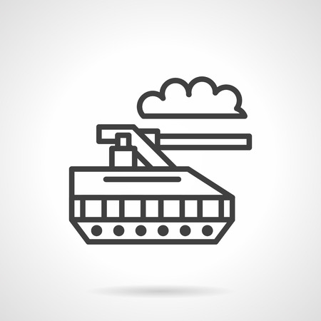 unmanned: Military unmanned tank. Robotic land vehicle. Black simple line vector icon. Single web design element for mobile app or website. Illustration