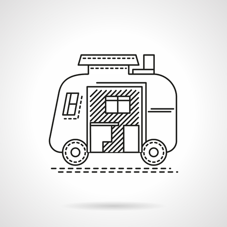 family van: Traveling lifestyle. Trailer, car for camping and tourism. Flat line style vector icon. Single web design element for mobile app or website.