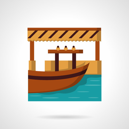 Wooden river dock with boat. Idea for water trade, fishing, outdoor leisure. Flat colorful vector icon. Single web design element for mobile app or website.