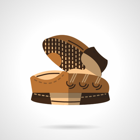 foot wear: Pair of brown sneakers. Sports foot wear. Items for sport store, sport fashion button. Flat color style vector icon. Single web design element for mobile app or website.
