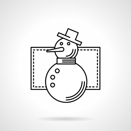 Snowman With Carrot Nose Hat And Three Buttons Wintertime Outdoor