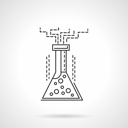 reaction: Laboratory flask with reaction liquid. Chemical experiment, laboratory glassware. Science and research. Flat line style vector icon. Single web design element for mobile app or website.
