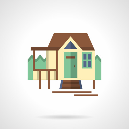 tree service pictures: Facade of touristic house and route board. Travel and hike. Forest camping. Flat color style vector icon. Single web design element for mobile app or website. Illustration