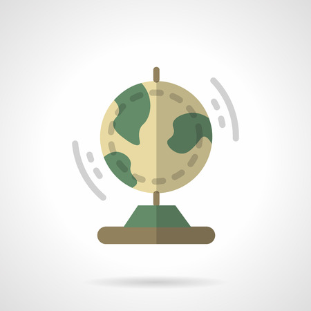 globe  the terrestrial ball: Education and science. Geography globe. Astronomy Earth model. Flat color style vector icon. Single web design element for mobile app or website. Illustration