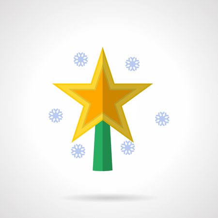 topped: Yellow bright topped tree star and snowflakes. Christmas decorations element. Flat color style vector icon. Single web design element for mobile app or website. Illustration