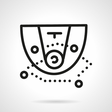 Scheme of basketball game. Basketball tactic. Sport or business concept. Black simple line style vector icon. Single web design element for mobile app or website. Иллюстрация