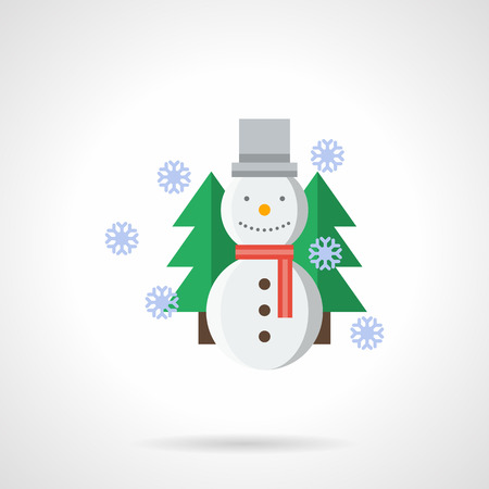 firtrees: Cheerful snowman with red scarf, gray hat and fir-trees on background. Snowfall. Winter outdoors game. Christmas holidays. Flat color vector icon. Single web design element for mobile app or website.