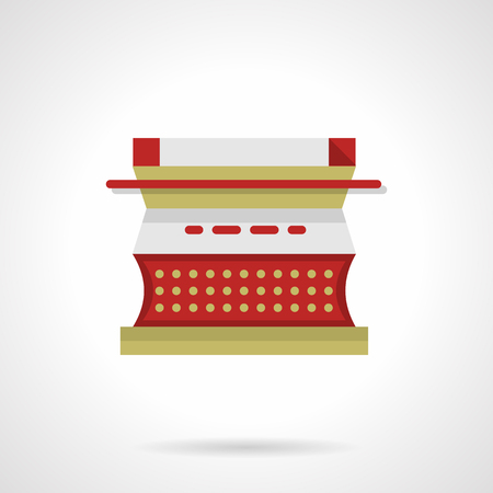 scriptwriter: Red typewriter with blank sheet. Copywriting symbol, media. Flat color style vector icon. Single web design element for mobile app or website. Illustration