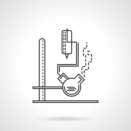 industry icons: Laboratory chemical experiment. Rack with flasks with reactives. Education and science, Flat line style vector icon. Single web design element for mobile app or website.