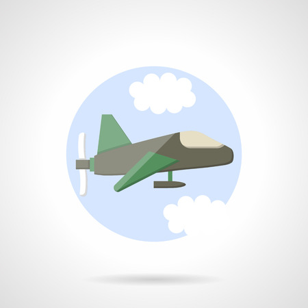 aeroplane: Aeroplane with propeller flying in a sky. Aircraft. Round flat color style vector icon. Single web design element for mobile app or website.