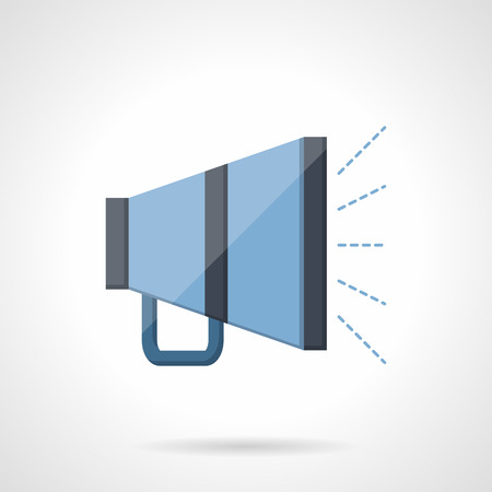 amplify: Blue megaphone with sound. Promotion, social media, advertising. Flat color style vector icon. Single web design element for mobile app or website.