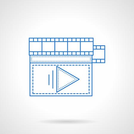 mounting: Video processing, storyboard. Professional production film, mounting filmstrip. V-blog, social media. Blue flat line vector icon. Single web design element for mobile app or website.