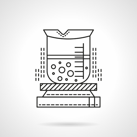 Laboratory beaker with liquid on heating device. Laboratory equipment and glassware. Chemical and biology science. Flat black line vector icon. Single web design element for mobile app or website. Illustration