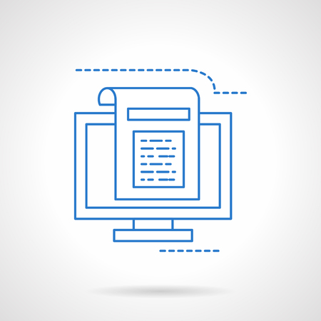 article: Computer with article page. Blogging, writing articles. Flat blue line style vector icon. Single web design element for mobile app or website.