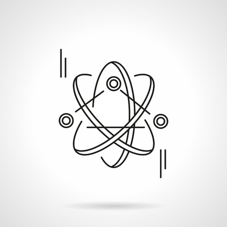 orbits: Three particles with orbits. Atom model. Science and education symbol. Flat line style vector icon. Single web design element for mobile app or website. Illustration