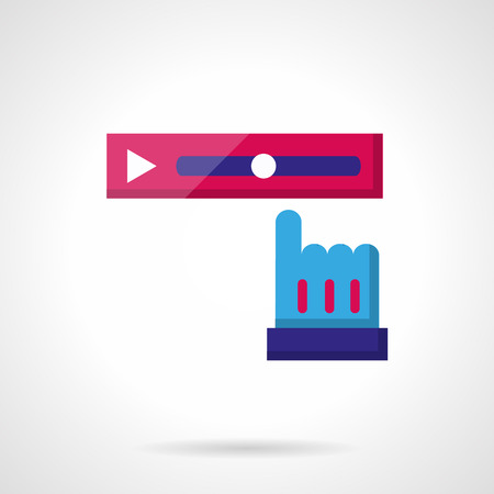 scrollbar: Pink tracker strip and blue finger arrow. Video rewind. Social media buttons. Color flat vector icon. Single web design element for mobile app or website.