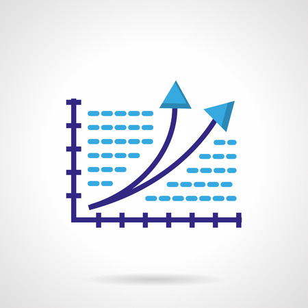 rising an arm: Chart with purple coordinate axis and two up arrows. Rating, success, development. Flat colored vector icon. Single web design element for mobile app or website.