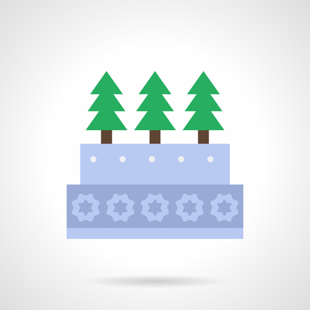 firtrees: Gray pie decorated with snowflakes and fir-trees. Christmas traditional desserts. Flat color style vector icon. Single web design element for mobile app or website.