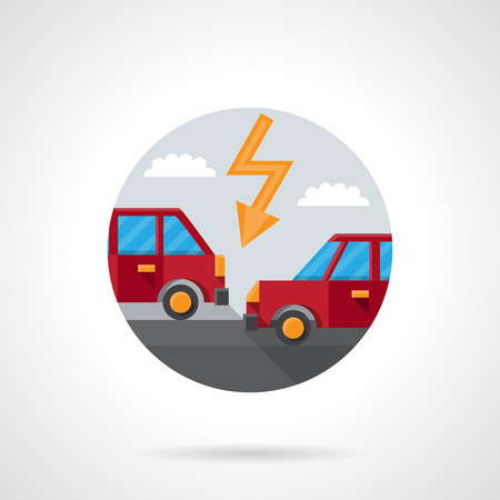 auto insurance: Two red automobiles on a road and lightning. Car crash. Auto insurance button. Round flat color style vector icon. Single web design element for mobile app or website.