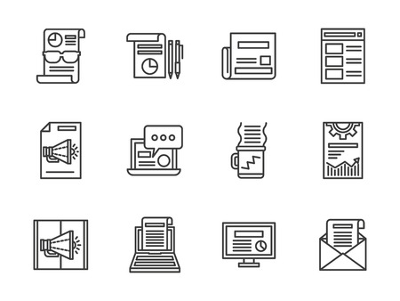 articles: News publication, articles for arvertising, email. Marketing services. Set of black simple line vector icons. Web design elements for business, website and mobile.