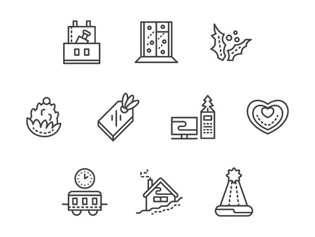 corporate event: New Years corporate event symbols. Celebration at work. Set of black simple line vector icons. Web design elements for business, website and mobile. Illustration