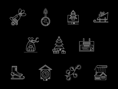 mobile accessories: New Year celebration. Christmas accessories and symbols. Collection of white line style vector icon on black background. Web design elements for business, website and mobile. Illustration