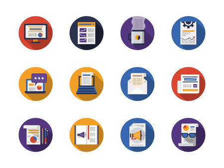 articles: Writing web articles buttons. Advertising, copywriting, newsletter and message app., blogging. Collestion of round flat color vector icons. Web design elements for business, website and mobile.